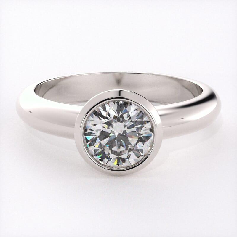 14k White Gold Bezel Setting Solitaire Engagement Ring