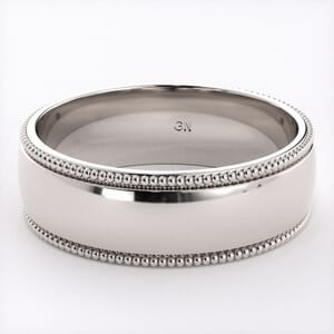 5249 - Comfort Fit Wedding Ring With Milgrain in  (6mm)