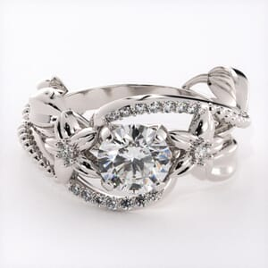 5847 - Diamond Ring With Pave and Floral Detail