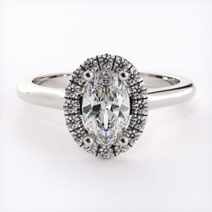 5919 - Oval Diamond Ring With Halo Setting