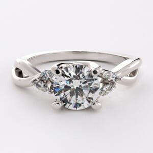 6466 - Side Stones Engagement Ring with 4 Marquise Diamonds 0.10 ct tw