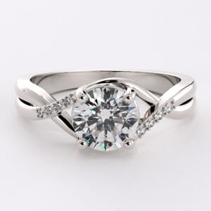 6471 - Twisted Pave Engagement Ring with 8 Round Brilliant Diamonds