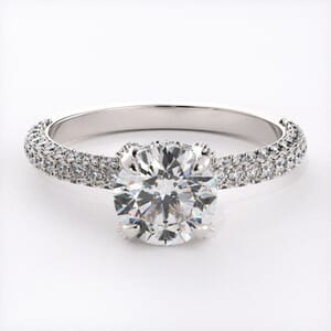 6481 - 3 Rows Pave Engagement Ring set with Round Diamonds 0.75 ct