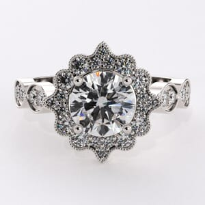 6491 - Floral Aesthetic Halo Engagement Ring with 0.45ct round diamonds