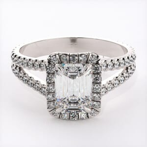 6496 - Bold Rectangle Halo Engagement Ring with 0.70ct round diamonds