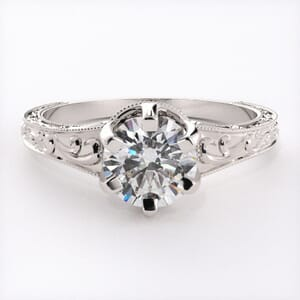 6506 - Crown Solitaire Engagement Ring with Delicate Crowned Band
