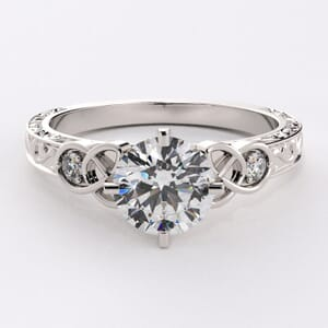 6511 - Vined Side Stones Engagement Ring with 2 round diamonds (0.10ct )