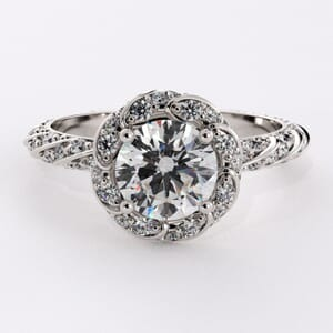 6516 - Coiled Halo Engagement Ring with 0.66 Round Brilliant Diamonds