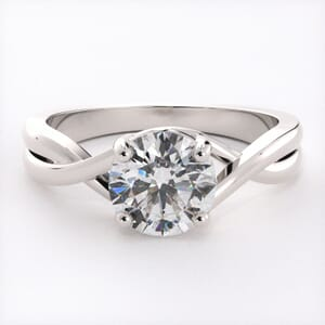 6521 - Simple Solitaire Engagement Ring Setting with Infinity Band