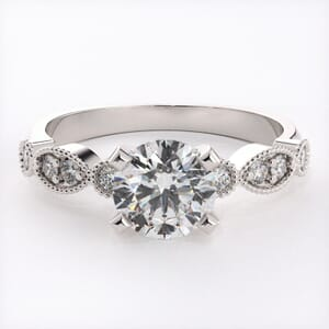 6541 - Round Brilliant Pave Diamonds Engagement Ring 0.20 Carat