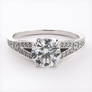 6556 - Split Pave Diamond Cathedral Engagement Ring Setting