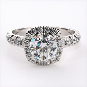 6561 - Soft Edge Halo Diamonds Engagement Ring Setting