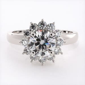 6571 - Floral Halo Engagement Ring 0.44ct Round Brilliant Diamonds