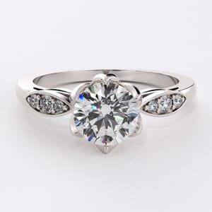 6576 - Winged Diamond Engagement Ring | 0.12ct Brilliant Diamonds
