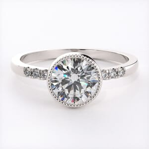 6596 - Timeless Milgrain Bezel Pave Engagement Ring Setting
