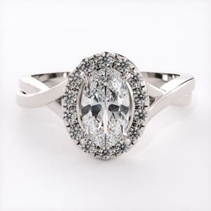 6611 - Elliptical Split Band Halo Engagement Ring Setting