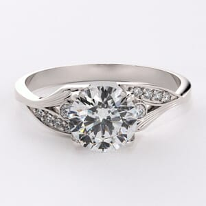 6621 - Leafed Pave Engagement Ring With Diamonds and Pattern