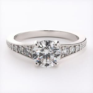 6626 - Classic Pave Engagement Ring Milgrain Channel Setting