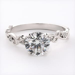 6631 - Floral Engagement Ring Setting with 6 Round Brilliant