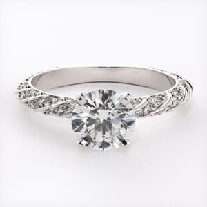 6636 - Entwined Pave Engagement Ring With 46 Side Diamonds