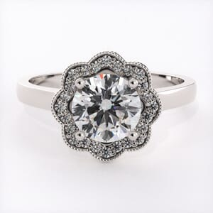 6641 - Flowered Diamond Halo Engagement Ring Setting