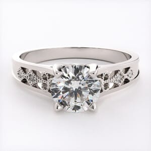 6646 - Arced Bold Pave Engagement Ring With Milgrain Details