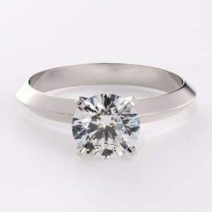 6651 - Solitaire Engagement Ring with Knife Edge Band