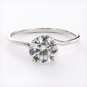 6656 - Solitaire Engagement Ring with Entwined Band Details