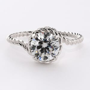 6661 - Solitaire Engagement Ring with Braided Band