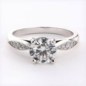 6671 - Leafed Pave Engagement Ring with 0.20ct Brilliant Diamonds