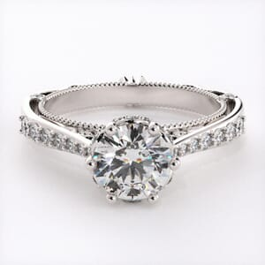 6681 - Intricate Vintage Engagement Ring with Round Side Diamonds