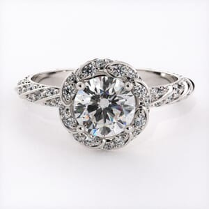 6691 - Embroidered Halo Engagement Ring with 0.50 Carat Side Diamonds