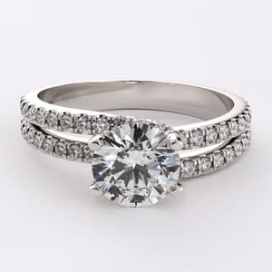 6696 - Double Band Dainty Diamonds Engagement Ring