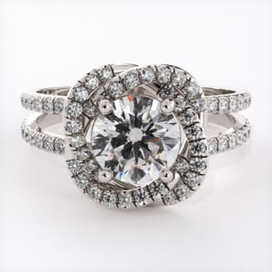 6701 - Unique Ribboned Diamonds Halo Engagement Ring