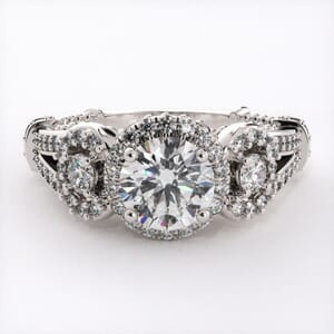6726 - 0.70 Carat Bold Diamond Halo Engagement Ring Setting