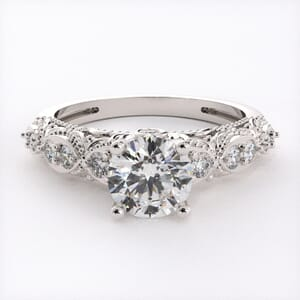 6731 - Round Brilliant Side Diamonds on Beautiful Engagement Ring Setting