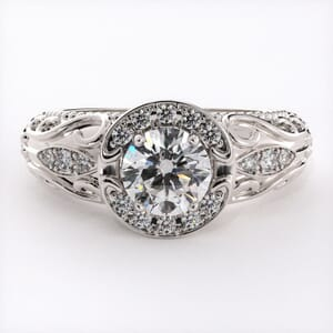 6741 - Exquisite Teardrop Pattern Halo Engagement Ring Setting