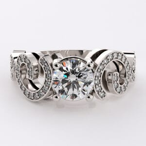 6751 - Bold Curved Pave Engagement Ring with Round Brilliant Diamonds